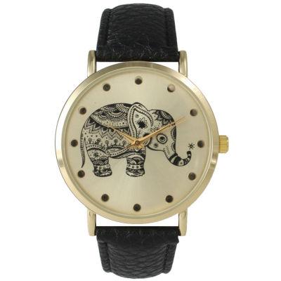 Olivia Pratt Womens Black And Gold Tone Elephant Print Dial Leather Strap Watch 14813