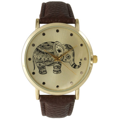 Olivia Pratt Womens Coral And Gold Tone Elephant Print Dial Leather Strap Watch 14813