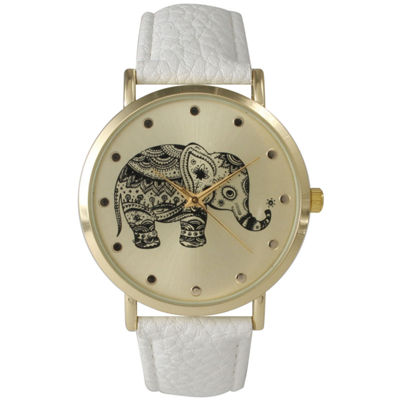 Olivia Pratt Womens White Elephant Print Dial Leather Strap Watch 14813