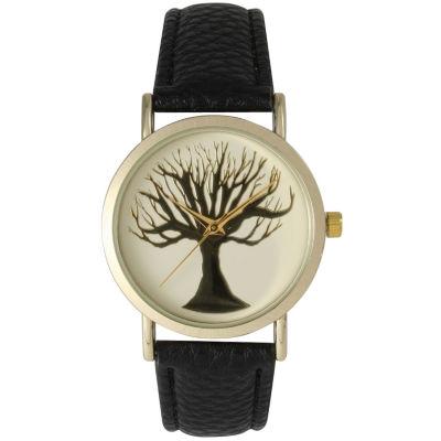 Olivia Pratt Womens Black Tree Emblem Leather Strap Watch