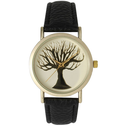 Olivia Pratt Womens Black Tree Emblem Leather Strap Watch