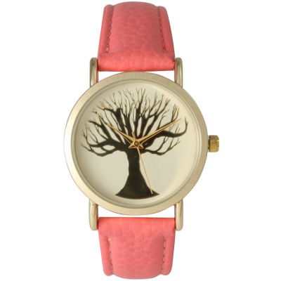 Olivia Pratt Womens Coral Tree Emblem Leather Strap Watch