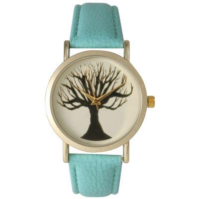 Olivia Pratt Womens Mint Tree Emblem Leather Strap Watch