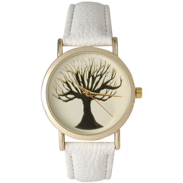 Olivia Pratt Womens White Tree Emblem Leather Strap Watch