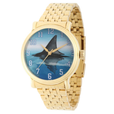 Discovery Expedition Mens Gold-Tone and Blue Shark Bracelet Watch