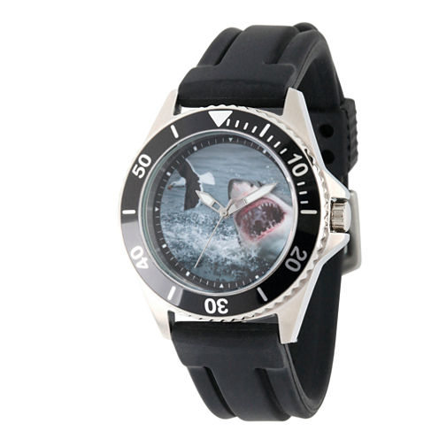 Discovery Expedition Mens Black Rubber Shark Watch