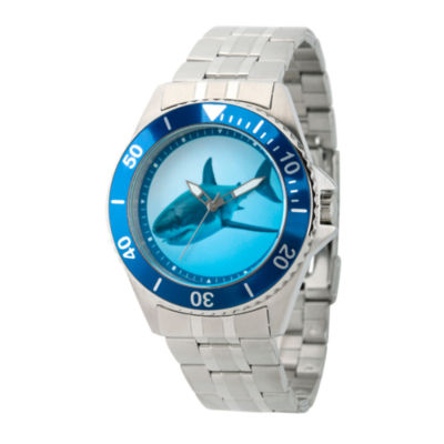 Discovery Expedition Mens Silver-Tone and Blue Shark Bracelet Watch