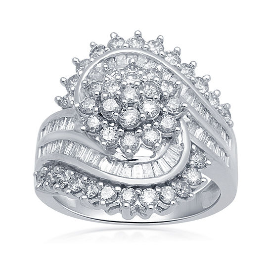 Diamond Blossom 2 CT. T.W. Diamond 10K White Gold Ring