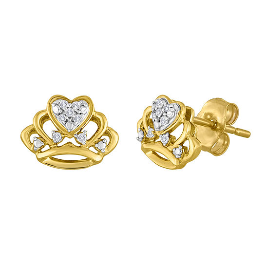 Diamond-Accent 10K Yellow Gold Crown Earrings