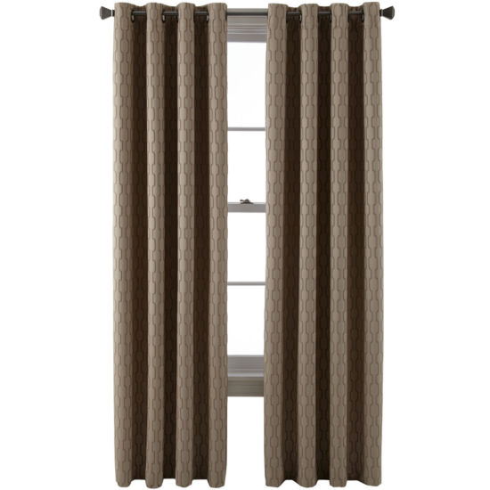 Liz Claiborne Luna Grommet-Top Lined Textured Blackout Curtain Panel