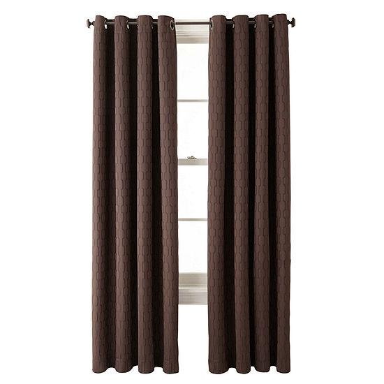 Liz Claiborne Luna Grommet-Top Lined Textured Blackout Curtain Panel