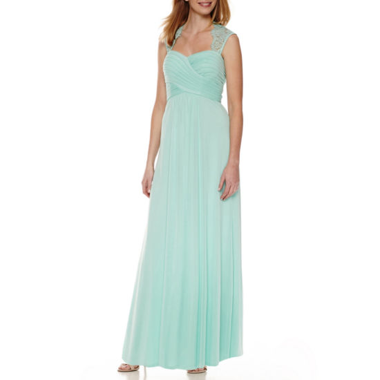 Scarlett Sleeveless Lace-Shoulder Formal Gown