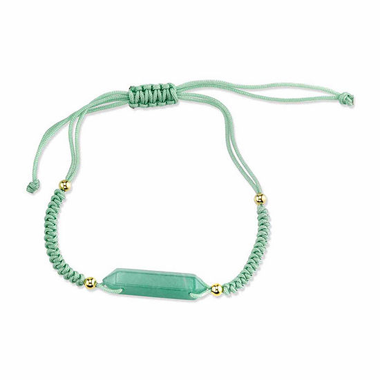 Footnotes Womens Green Aventurine Silver Over Brass Beaded Bracelet