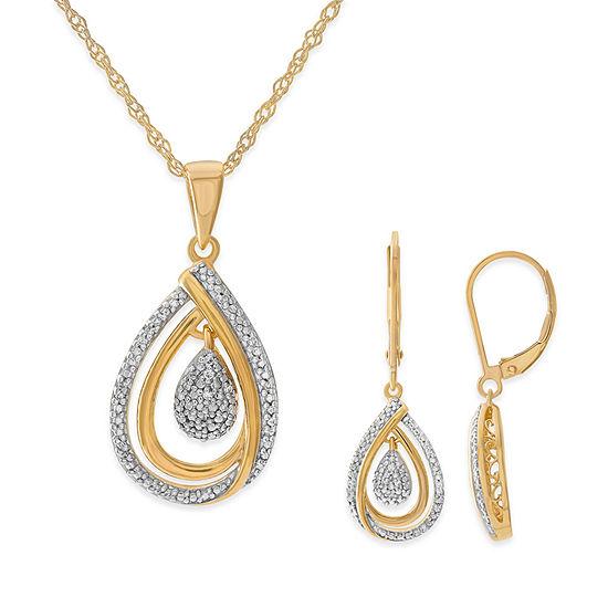1 10 Ct Tw Genuine White Diamond 14k Gold Over Silver 2 Pc Jewelry Set