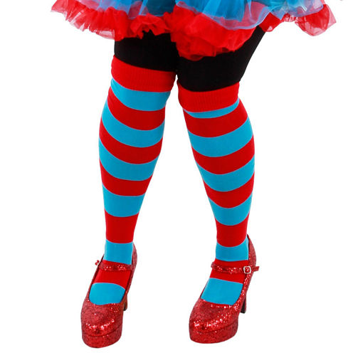 Buyseasons Cat in the Hat Thing 1 and Thing 2 Striped Knee Highs