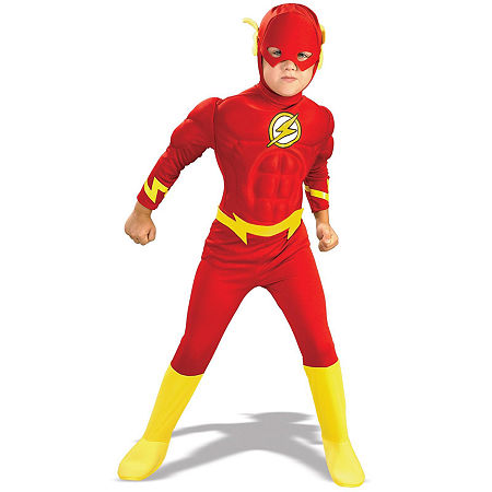 DC Comics The Flash Muscle Chest Deluxe Toddler/Child Costume, 12-14 , Red