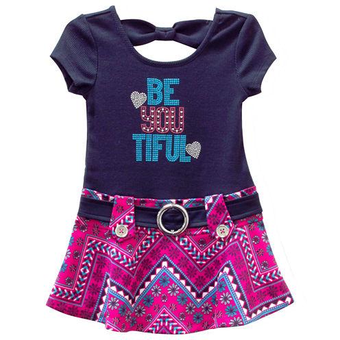 Lilt Short SleeveDrop Waist Dress - Toddler Girls