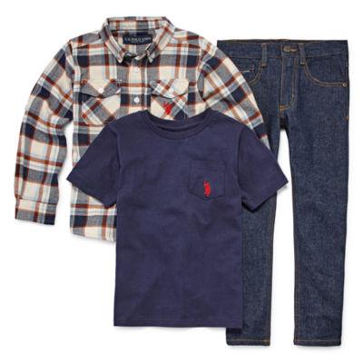 Us Polo Assn. 3-pc. Plaid Pant Set Boys