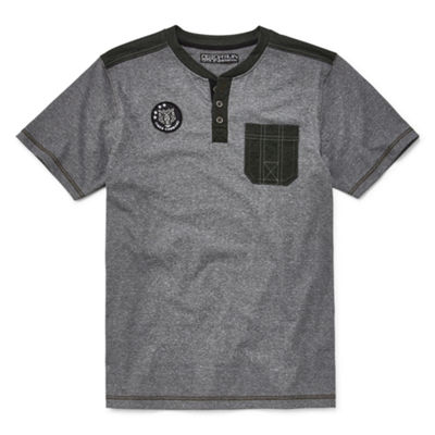 Distortion Short Sleeve Henley Shirt - Big Kid Boys