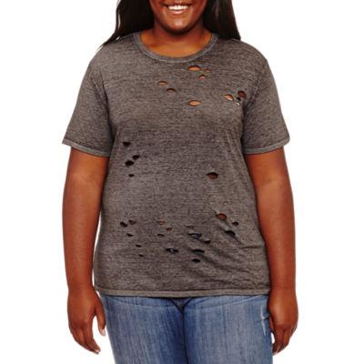 Arizona Womens Short Sleeve Graphic T-Shirt-Juniors Plus