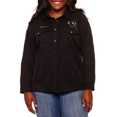 Rewind Long Sleeve Embellished Button-Front Shirt-Juniors Plus