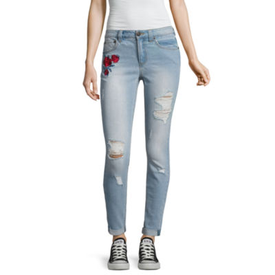 Almost Famous Rose Embroidered Skinny Jeans-Juniors
