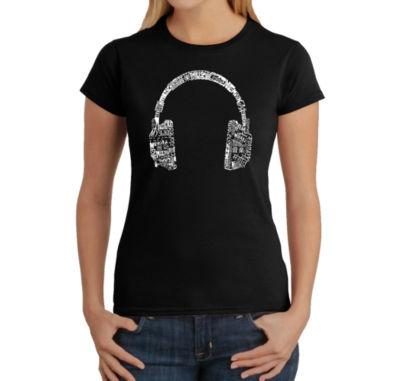 Los Angeles Pop Art Headphones - Languages Graphic T-Shirt