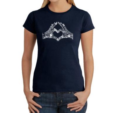 Los Angeles Pop Art Finger Heart Graphic T-Shirt