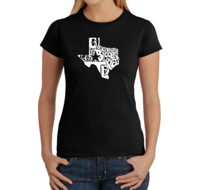 Los Angeles Pop Art Everything Is Bigger In Texas Womens Graphic T-Shirt