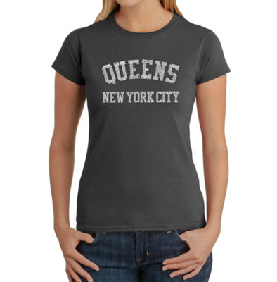 Los Angeles Pop Art Popular Neighborhoods In Queens; Ny Graphic T-Shirt