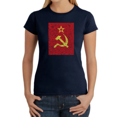 Los Angeles Pop Art Lyrics To The Soviet National Anthem Graphic T-Shirt