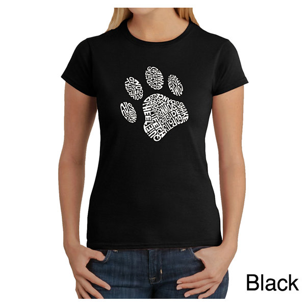 Los Angeles Pop Art Dog Paw Graphic T-Shirt