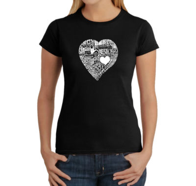 Los Angeles Pop Art Love In 44 Different Languages Graphic T-Shirt