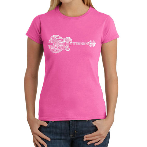 Los Angeles Pop Art Country Guitar Graphic T-Shirt