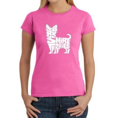 Los Angeles Pop Art Yorkie Graphic T-Shirt