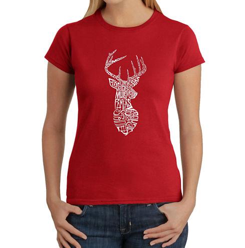 Los Angeles Pop Art Types Of Deer Graphic T-Shirt