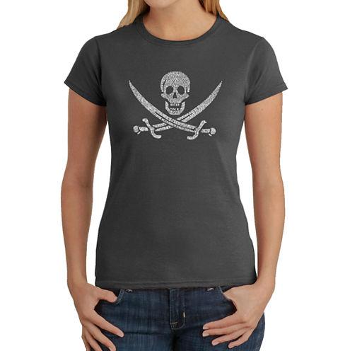 Los Angeles Pop Art Lyrics To A Legendary Pirate Song Graphic T-Shirt