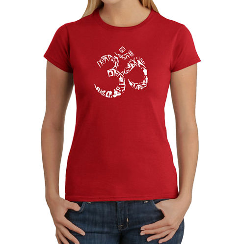 Los Angeles Pop Art The Om Symbol Out Of Yoga Poses Graphic T-Shirt