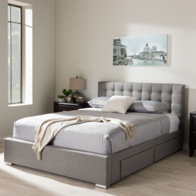 Baxton Studio Rene Storage Platform Tufted Bed