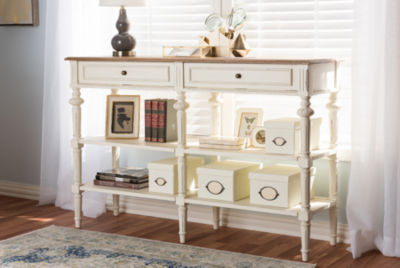Baxton Studio Marquetterie 2-Drawer 2-Shelf Console Table
