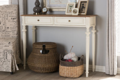 Baxton Studio Marquetterie 2-Drawer Console Table