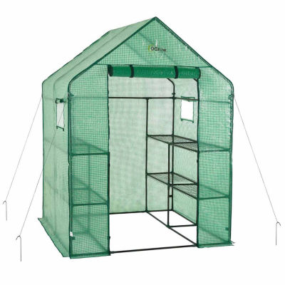 Ogrow Deluxe Walk-In 2 Tier 8 Shelf Portable LawnAnd Garden Greenhouse - Heavy Duty Anchors Included!