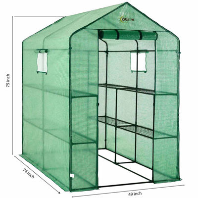 Ogrow Large Heavy Duty Walk-In 2 Tier 8 Shelf Portable Lawn And Garden Greenhouse