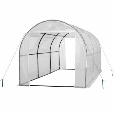 Ogrow Two Door Walk-In Tunnel Greenhouse With Ventilation Windows And Steel Frame