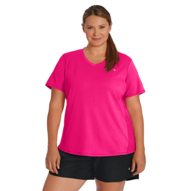 Champion Short Sleeve V Neck T-Shirt-Womens Plus