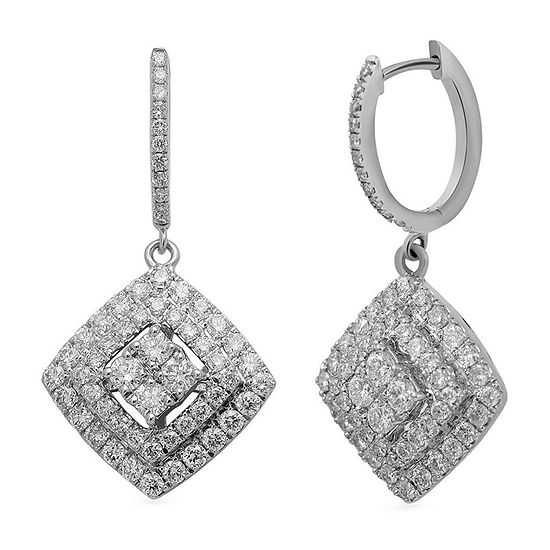 LIMITED QUANTITIES 2 CT. T.W. Diamond 14K White Gold Framed Drop Earrings