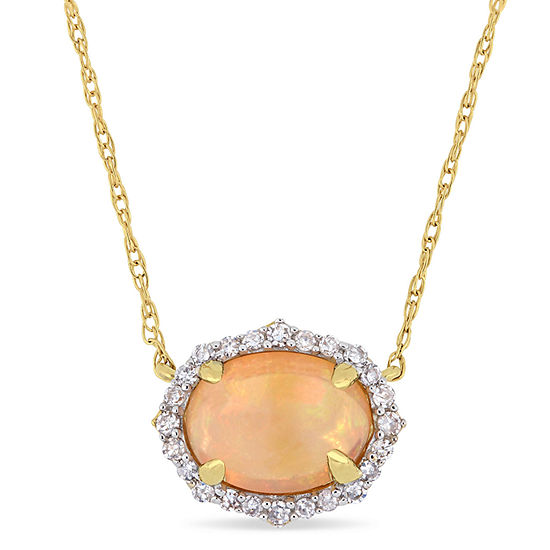 Womens 1/10 CT. T.W. Genuine Yellow Opal 10K Gold Pendant Necklace