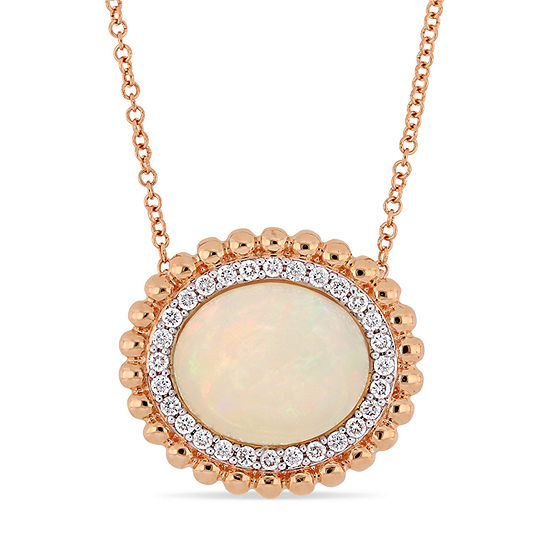 Womens 1/4 CT. T.W. Genuine White Opal 14K Rose Gold Pendant Necklace
