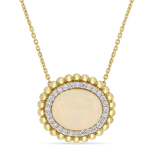 Womens 1/4 CT. T.W. Genuine White Opal 14K Gold Pendant Necklace