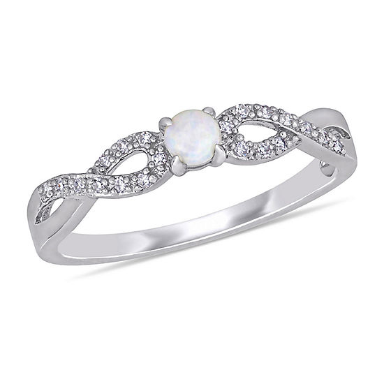 Womens 1/10 CT. T.W. Genuine White Opal Sterling Silver Cocktail Ring